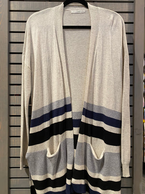 Striped Mid Length Cardigan