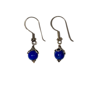 Cobalt Blue Bead and Flower  Earring