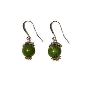 Jade Green Bead and Sterling  Earring