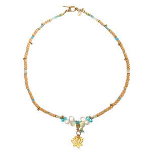 Sandalwood, Blue Topaz, crystal & gemstone Om Pendant Necklace