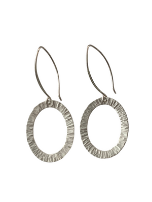Sterling Silver Hammered Oval Washer Earrings