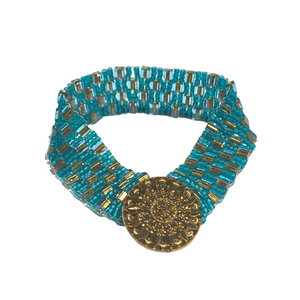 Turquoise and Gold Color Seed Bead and Button Bracelet