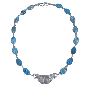Turquoise Bead  and Silver Pendant Necklace