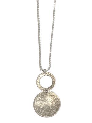 Sterling Silver Necklace Speckled Texture 2 Circle Drop
