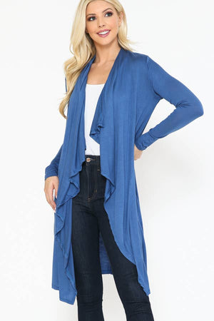 Blue Hoodie Cardigan in French Blue