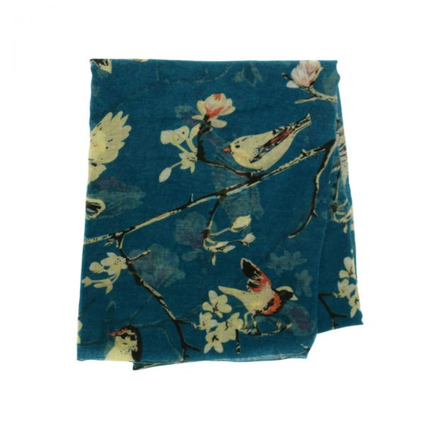 Teal Scarf with Birds