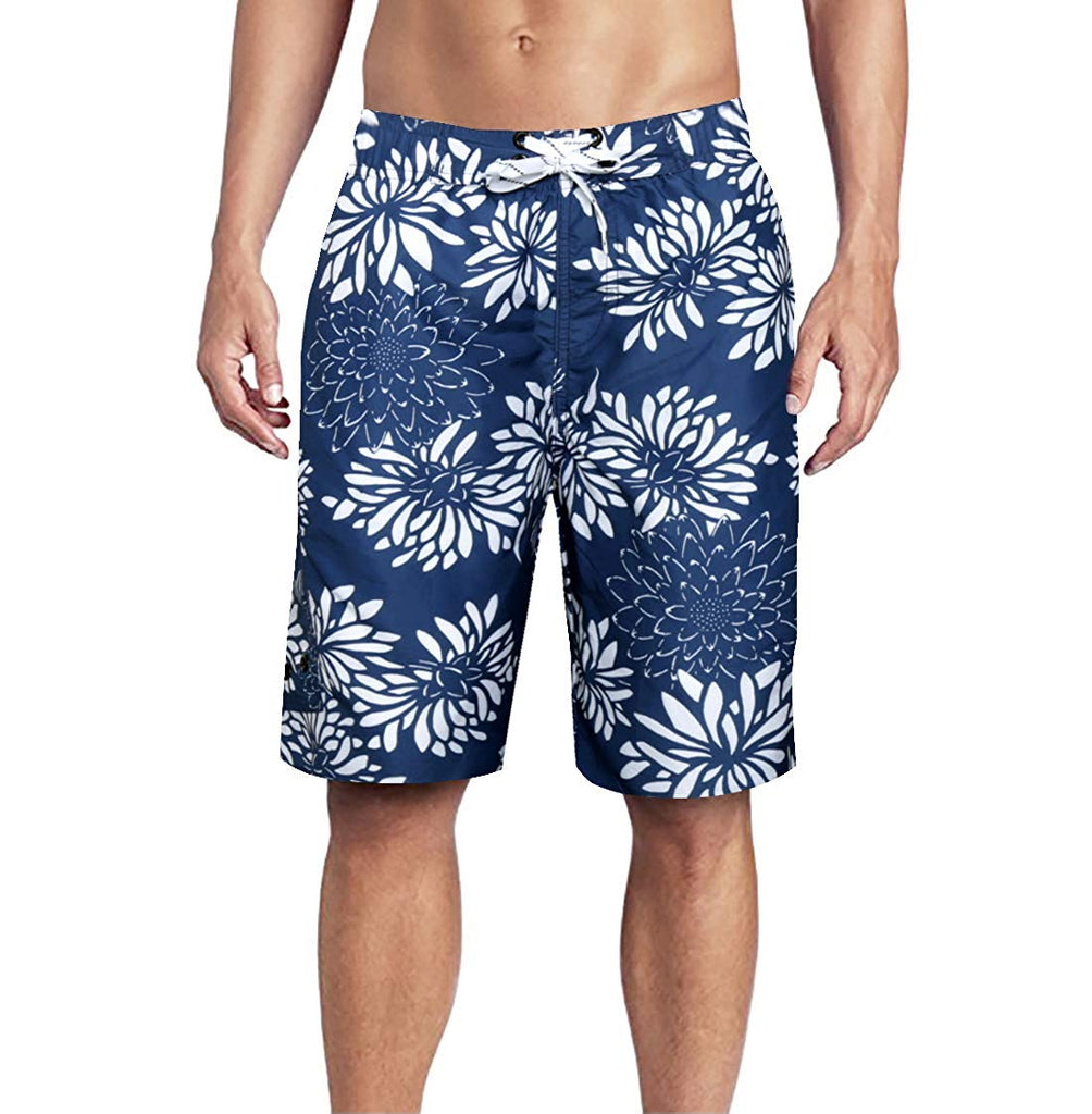 Quick-Dry Mens Beach Shorts Black and Red American Flag Swim Trunks with Adjustable Drawstring
