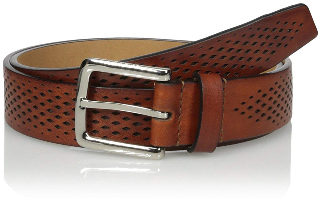 COLE HAAN MEN'S BELT PERFORATED TRIM DRESS BELT IN TAN BRAND NEW WITH TAGS