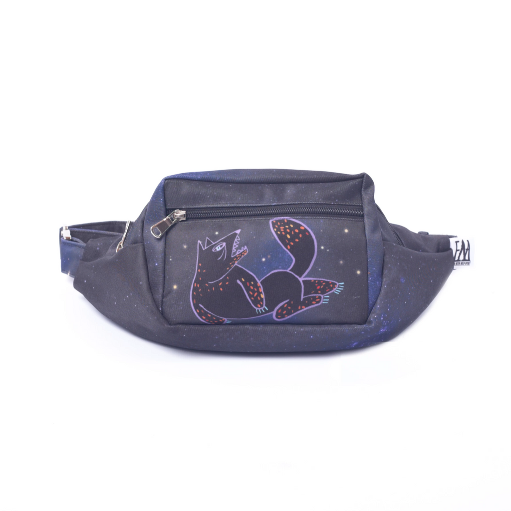 Bag, fanny pack, bum bag, waist bag, belt bag, chest bag, belly bag, wallet, purse, cross bag, women bag, travel bag, illustrated, space, cosmos, dog