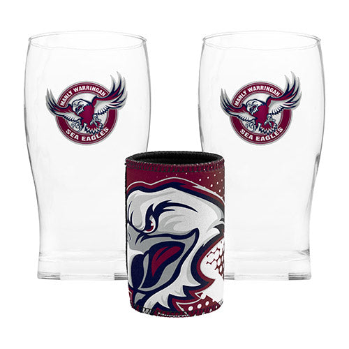 MANLY SEA EAGLES  2 PINT GLASSES AND STUBBY HOLDER