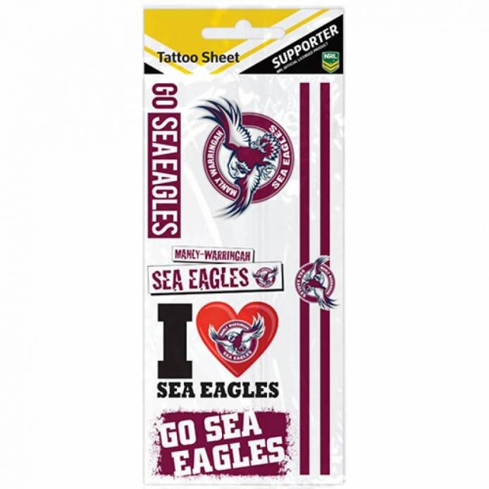 MANLY SEA EAGLES TATTOO SHEET
