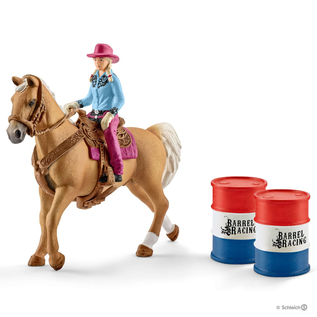 SCHLEICH- BARREL RACING WITH COWGIRL