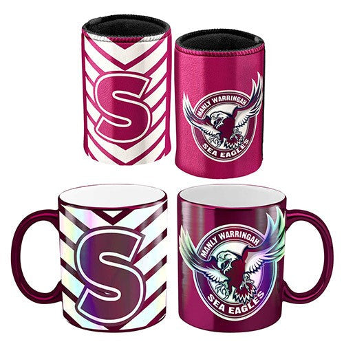 MANLY SEA EAGLES METALLIC CAN COOLER & MUG PACK