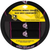 MANLY SEA EAGLES STEERING WHEEL AND SEAT BELT COVERS
