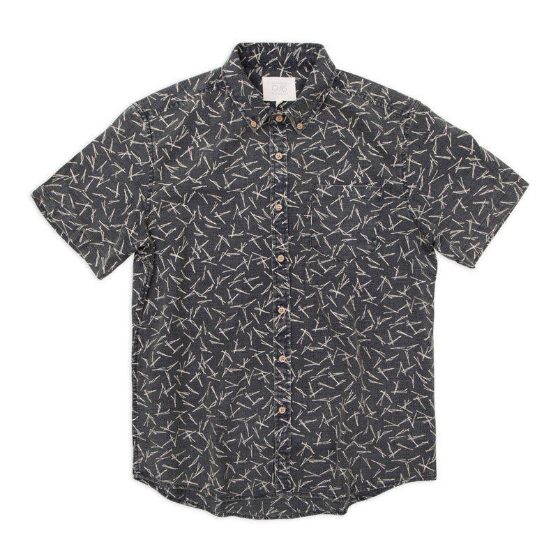 Mahalo Decorative Pattern Short Sleeve Poplin