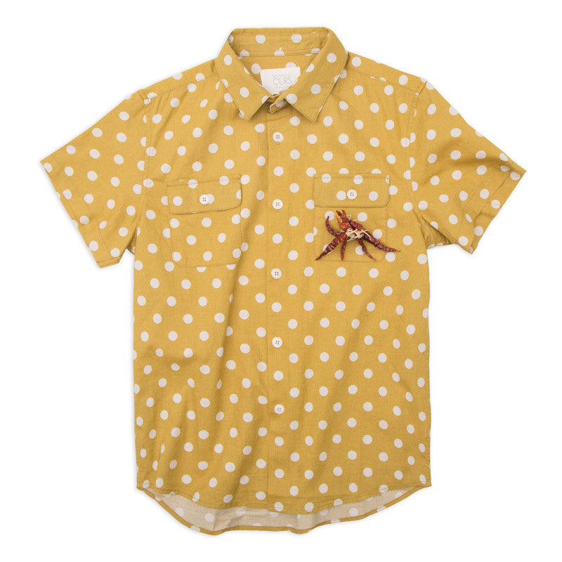 Ours Short Sleeve Mustard Cotton Polkadot Polin
