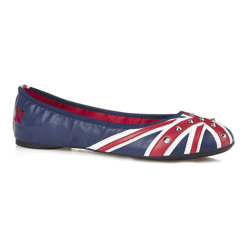 Union Jack Ballerina Flats with Studs - $44.99