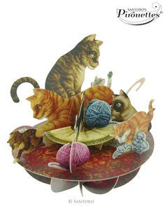 CATS GREETING CARD SPINNER 3D