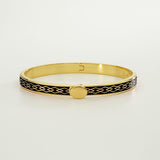 Halcyon Days Bangle Skinny Parterre Chain Black & Gold