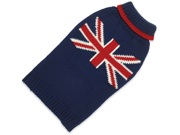 "Dog Coat ""Sweater"" (Hand knitted) with Union Jack"