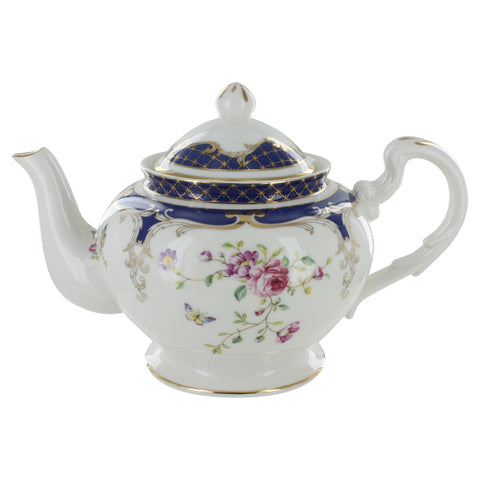 """Navy Rose"" China Teapot"