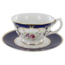 """Navy Rose"" China Teacup & Saucer"