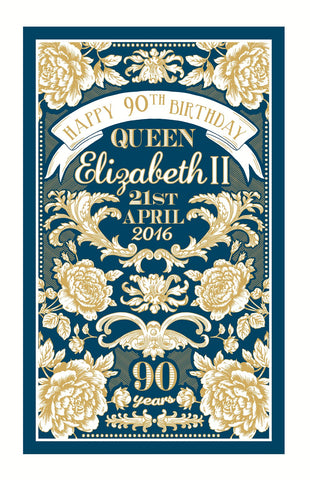 QUEENS 90TH BIRTHDAY TEA TOWEL NOW IN STOCK.LTD EDT.