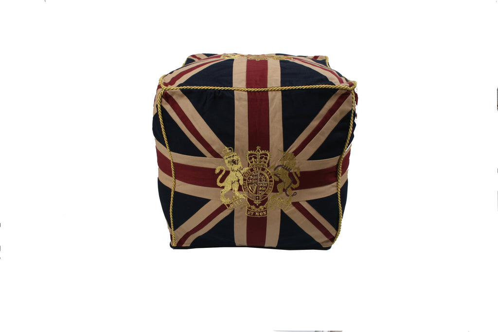 Union Jack Pouffe - Vintage with Royal Crest