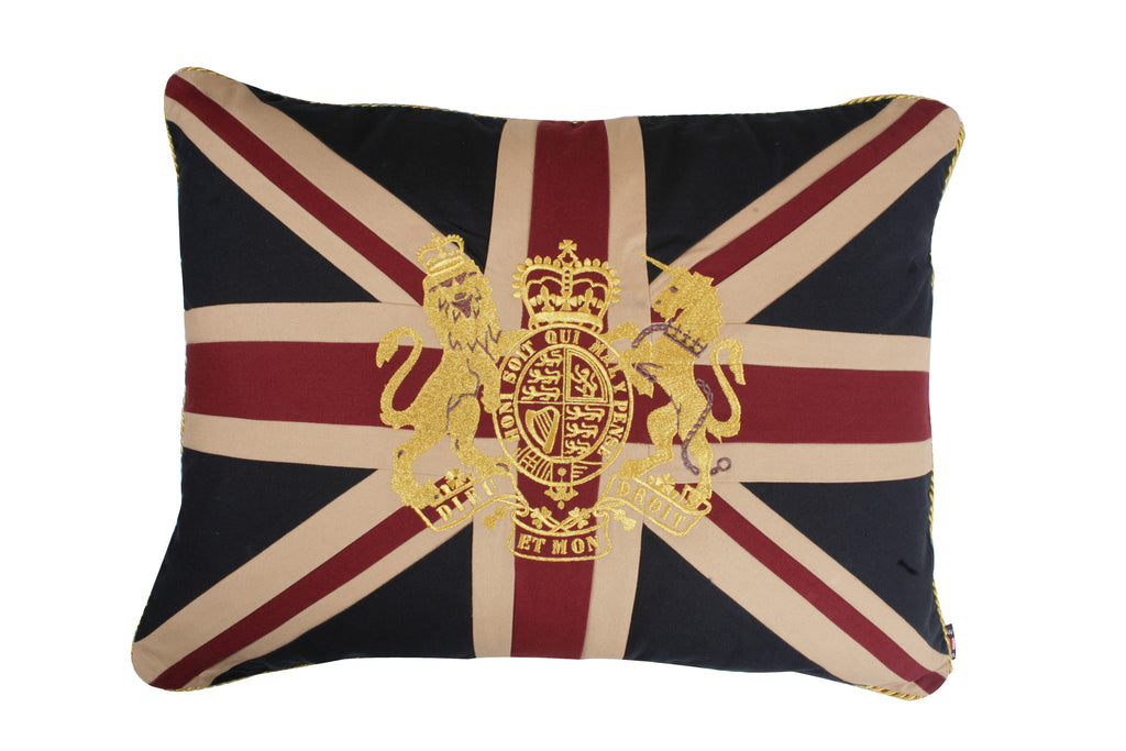 Union Jack Pillow Sham with the Royal Crest