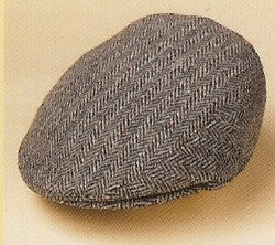 HARRIS TWEED LOVAT HERRINGBONE FLAT CAP