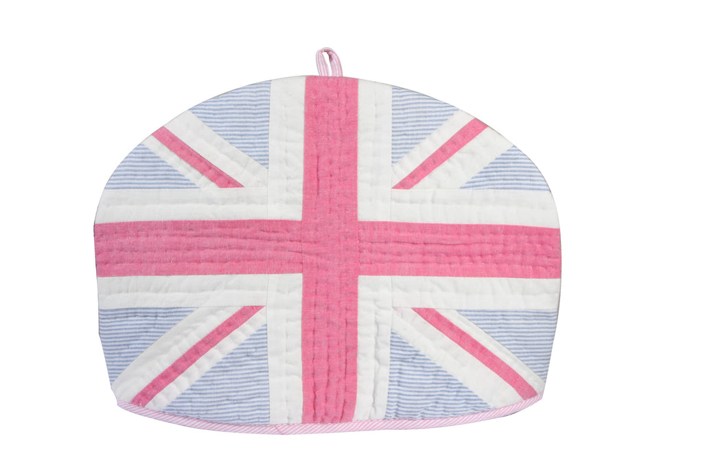 Tea Cozy - Patch-work pink & blue stripe