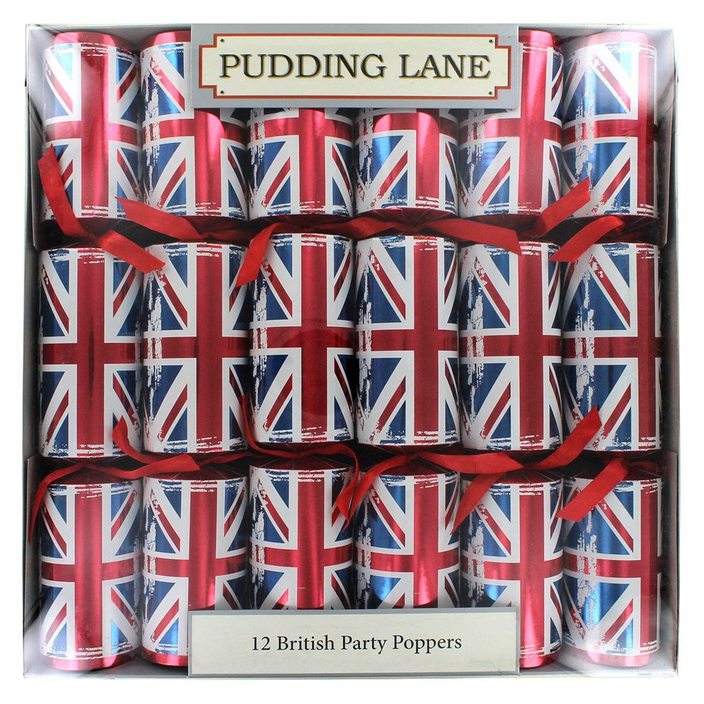 "Christmas Crackers "" RETRO"" Union Jack 12 pack"