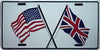 USA & UK Flag License Plate