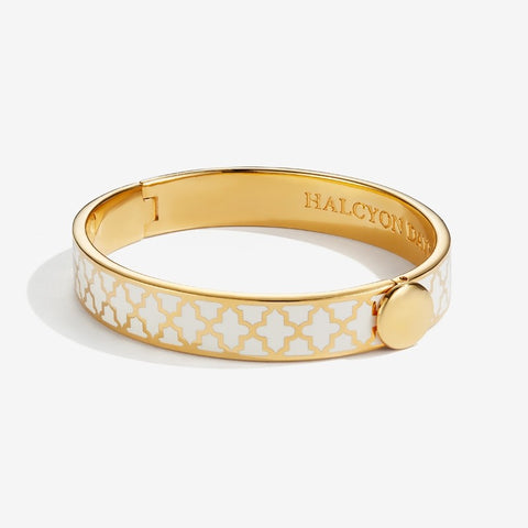 Halcyon Days Agama Cream/Gold Hinge Bangle