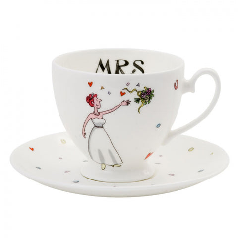 Alison Gardiner Mrs Wedding Cup & Saucer