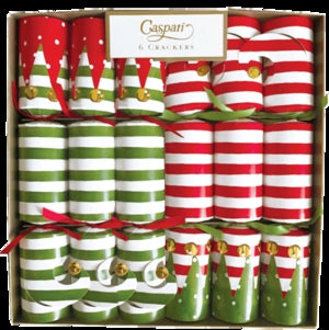 "Caspari Christmas Crackers 6 ""Stocking Stripe"""