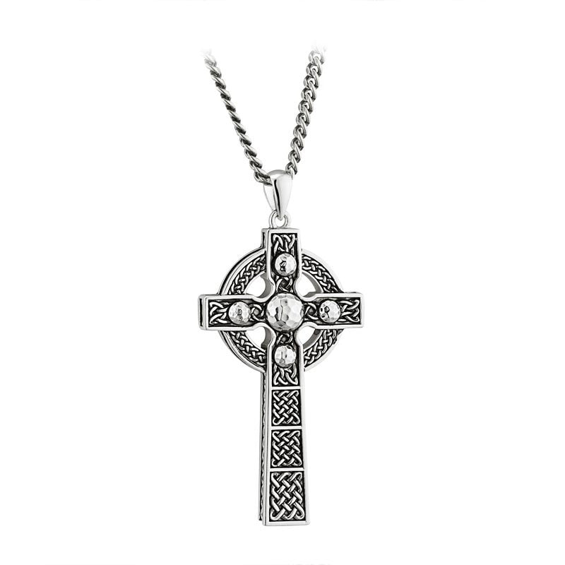 sterling silver rhodium dome large cross