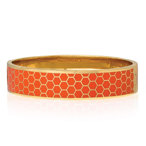 Halcyon Days Honeycomb Orange Bangle
