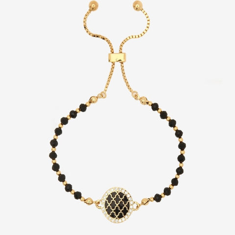 Halcyon Days Agama Sparkle black & gold beaded friendship bangle