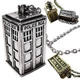 dr who silver tardis chain