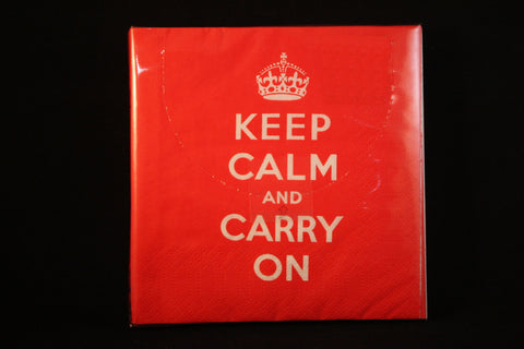 """KEEP CALM and CARRY ON""  Napkin set (red)"