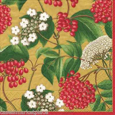 Caspari 2 / 20ct Pkgs Berry Chintz Gold Christmas Luncheon / Lunch Napkins