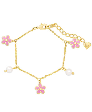Flower and Freshwater Pearl Charm Bracelet (Pink)