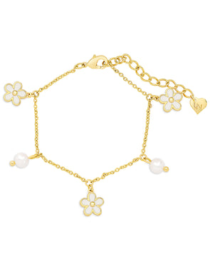 Flower and Freshwater Pearl Charm Bracelet (White)