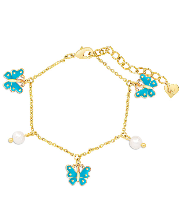 Butterfly and Freshwater Pearl Charm Bracelet (Blue)