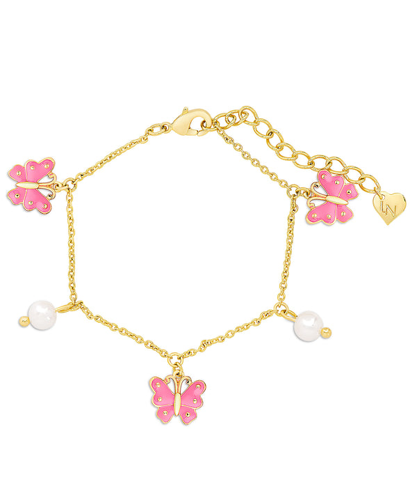 Butterfly and Freshwater Pearl Charm Bracelet (Pink)