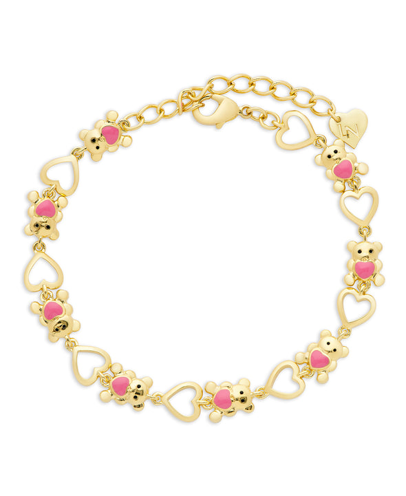 Teddy Bear and Hearts Link Bracelet