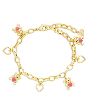 Teddy Bear and Hearts Charm Bracelet