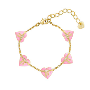 Heart & Ribbon Bow Link Bracelet