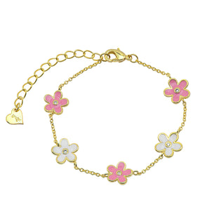 Flower CZ Station Bracelet